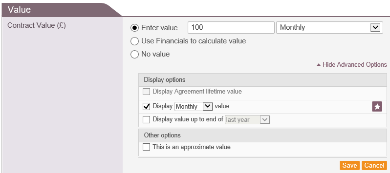 Fig 2 - Contract Value Advanced Options
